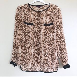 Rachel Roy Silk Leopard Long Sleeve Blouse